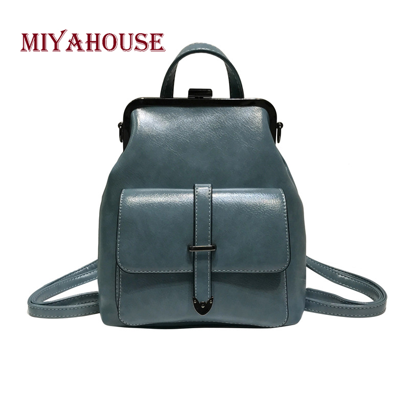 Miyahouse Fashion Casual Travel Woman Backpack Simple Solid Color Backpack For Female High Quality Pu Leather Woman Rucksack #2