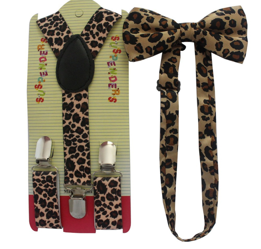 Free Shipping 2018 New Cute Girls Toddler Brown Leopard Animal Print Suspenders And  Bow Ties Sets For Boys Kids