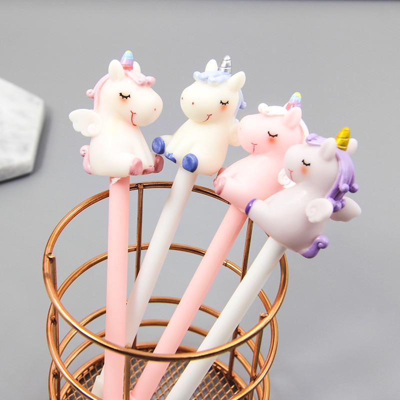 1pc Unicorn Gel Pens Kawaii Multi Shape Silica Gel &Plastic Unicorn Pens For Kids Girls Gifts School Writing Supplies Stationery