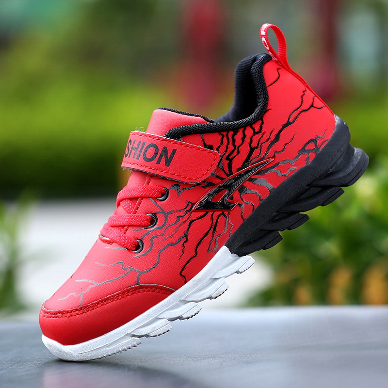 2018 Spring / Autumn New Styles Unique Lightning Print Running Shoes For Kids Boys Girls Children Sports Sneakers Blade Outsole ...