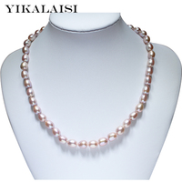 YIKALAISI 2017 fine Pearl choker Necklace jewelry Natural Freshwater pearl 925 sterling Silver jewelry For Women wedding gifts