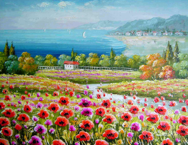 Acquista all'ingrosso online floreale stampe d'arte su tela da ...