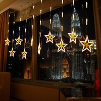 12 Twinkling Stars Christmas Fairy String Lights Window Display 162 LED Xmas Gifts Curtain Lights Christmas Day Ambient Lights