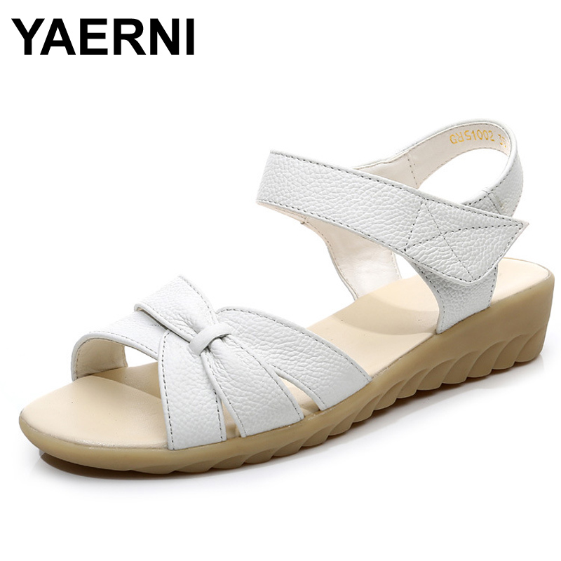 Plus Size 34 43 Flat Summer Sandals For Women 2017 Mother Shoes Genuine Leather Nurse Shoes