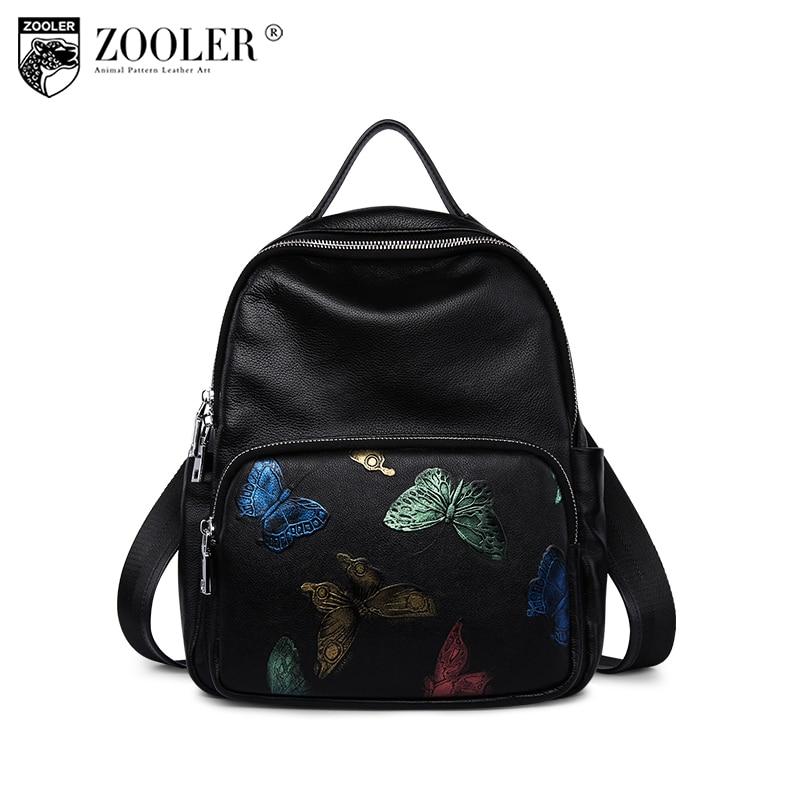 2018 genuine leather bag zooler backpack embossing women leather backpacks butterfly school girl fashion #5203 butterfly patches faux leather backpack