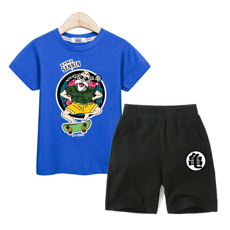 Kids costume boys summer clothing Master Roshi t-shirt shorts 2pc suits boys clothes cartoon children outfit tees+ pants setsKids costume boys summer clothing Master Roshi t-shirt shorts 2pc suits boys clothes cartoon children outfit tees+ pants sets