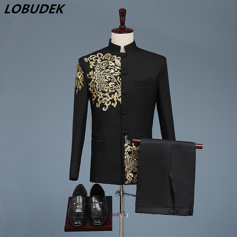 Black White Men's Suits Chinese Style Gold Embroidery Blazers Prom Host Stage Outfit Male Singer Teams Chorus Wedding DS Costume