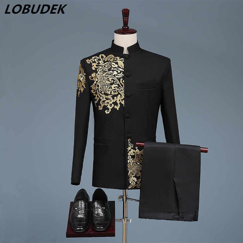 黒白人男性のスーツ中国風の金刺繍ブレザーウエディングホストステージ衣装男性歌手チームコーラス結婚式 DS 衣装