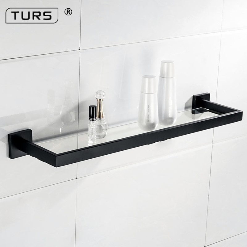 Black Matte SUS 304 Stainless Steel Glass Toilet Shelf Solid Square 55 CM Length Single Layer Towel Rack Bathroom AccessoriesBlack Matte SUS 304 Stainless Steel Glass Toilet Shelf Solid Square 55 CM Length Single Layer Towel Rack Bathroom Accessories