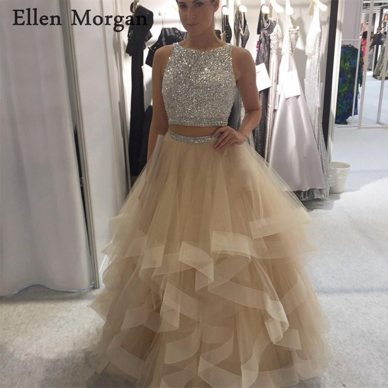 2 Pieces Champagne   Prom     Dresses   for Girls 2019 Beaded Boat Neck Backless Floor Length Beads Tulle Vestido De Festa Party Gowns