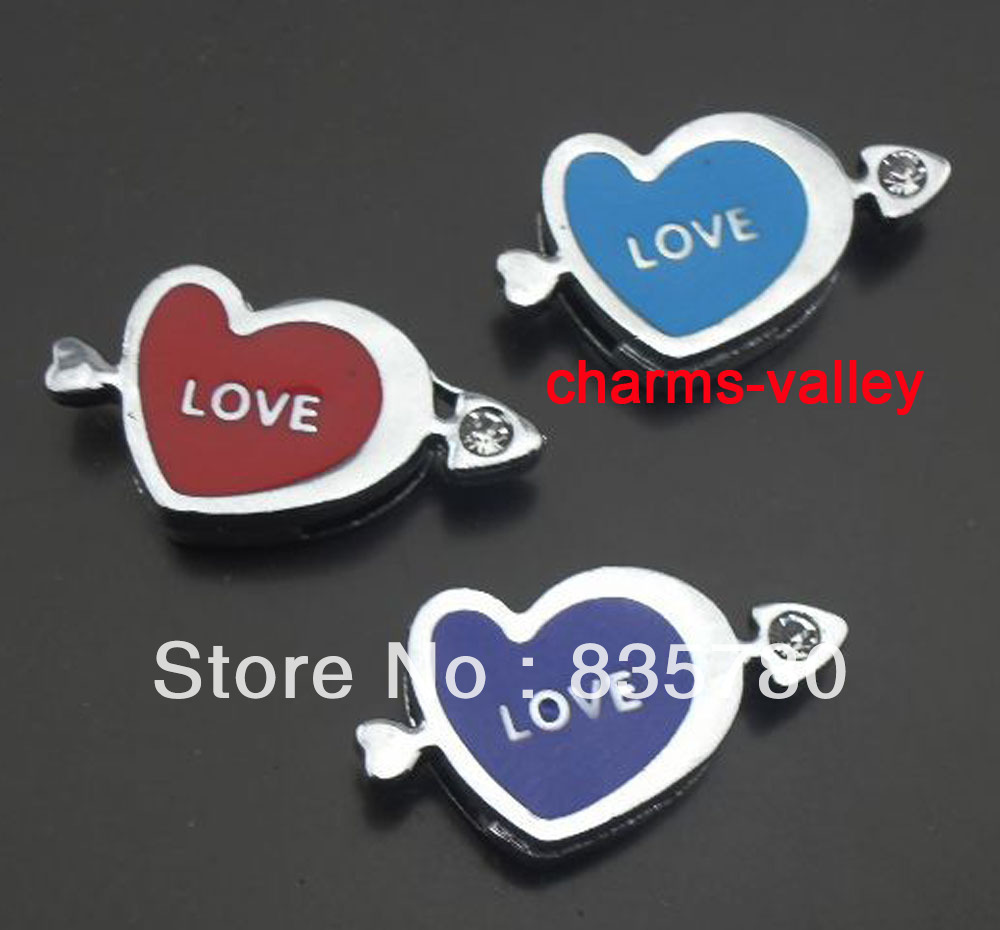 50pcs 8mm One Rhinestone Arrow Through Heart Love Symbol Heart