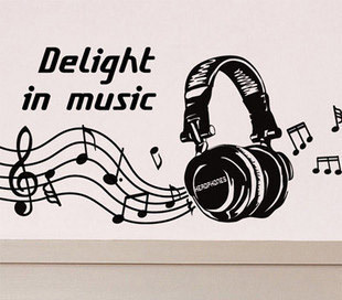 Muziek vinyl muurtattoo hoofdtelefoon muziek teken delight in music ...