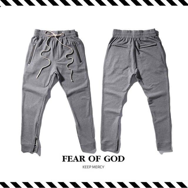 Best Version New Arrival 2016 Fall Winter Fear of God Fog Grey Long Stripe HipHop Justin Bieber Zipper Men Trousers Pants Jogger