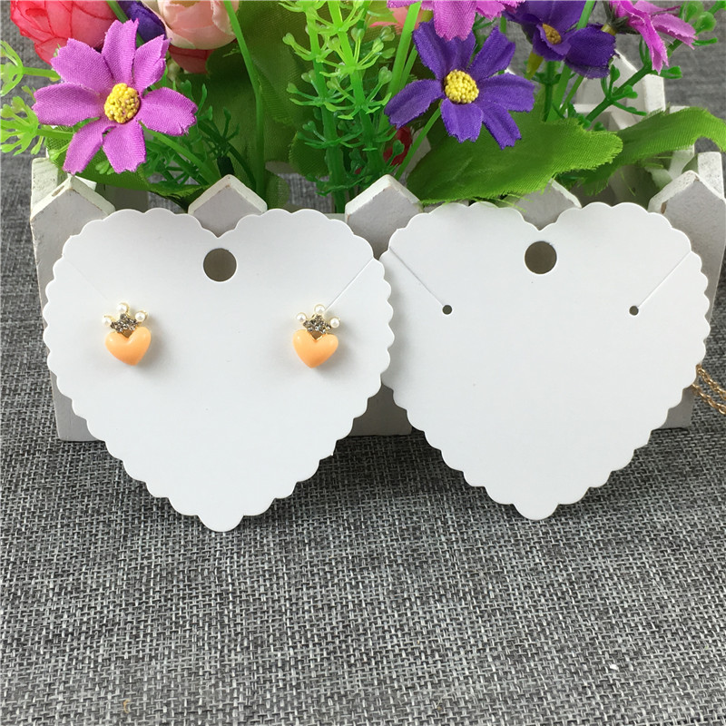 Heart Shape Necklace Card Kraft Paper Three Color Trendy Fashionable Ladies Jewelry Accessories Cards 7.2x7.6cm 100Pcs/Lot