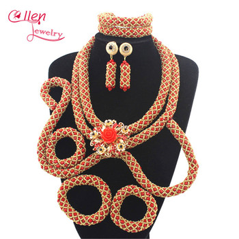 Charms Luxury African Nigerian wedding bridal beads beaded necklace jewelry sets india dubai women jewelry sets N0080