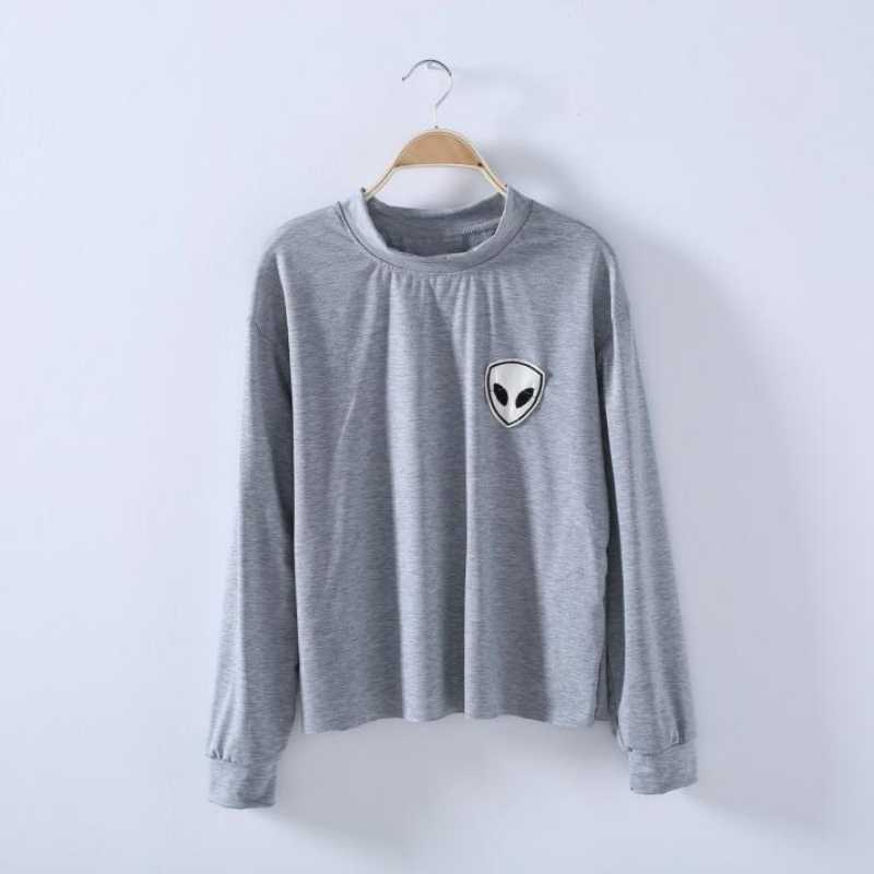 7f7a559c41b Patch Embroidery Crewneck Cropped Sweatshirt autumn Winter Fleece Hoodie  Grey Black Cotton Long Sleeve Tops