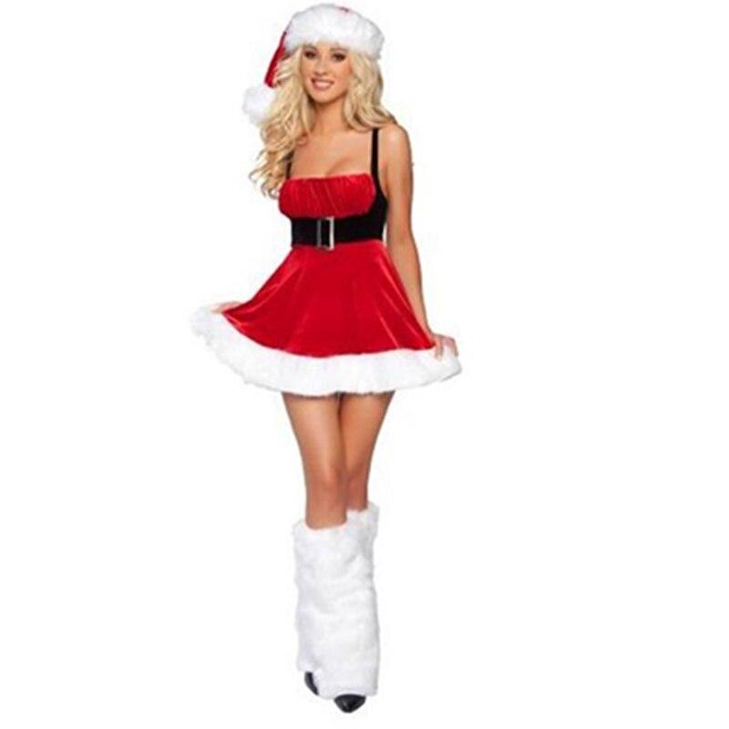 ᗔHot sexy Navidad traje de Santa con el sombrero y Calentadores ...