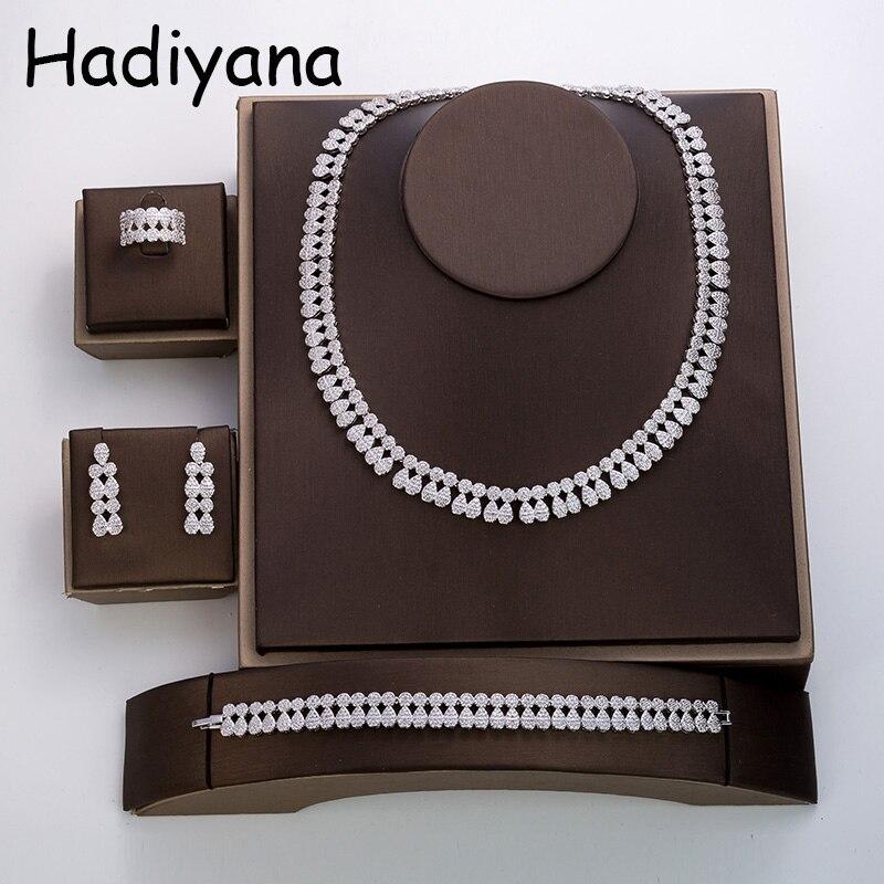 Hadiyana nouveau design minimaliste élégant 4 pièces ensemble bijoux mariée fiançailles bijoux de mariage TZ8044