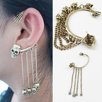 Women Fashion Punk Ghost Hand Skull Tassel Chains Earring Ear Hook Ear Clip