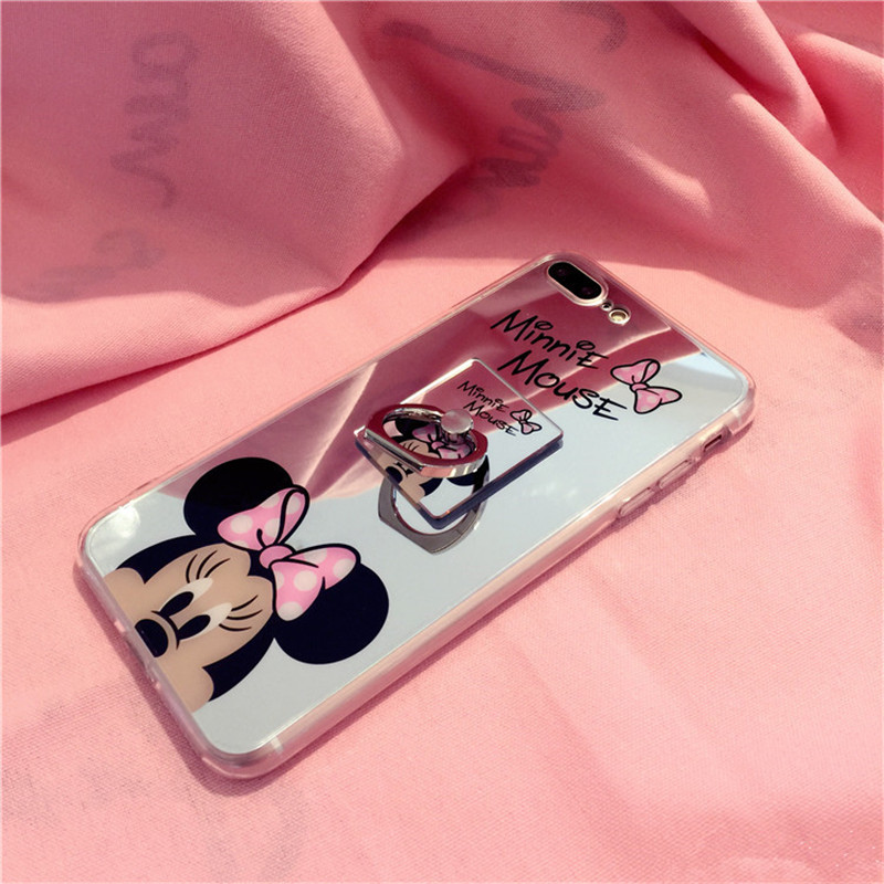 Mickey Minnie Mouse Mirror Cases for iPhone 7 7Plus 8 Plus grip ring Back Cover Coque for iPhone 6 6s Plus with Ring Stander