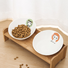 New Pet Dog Bowl Bamboo Ceramic Feeding and Drinking Bowls Combination with Frame for Cats Feeder