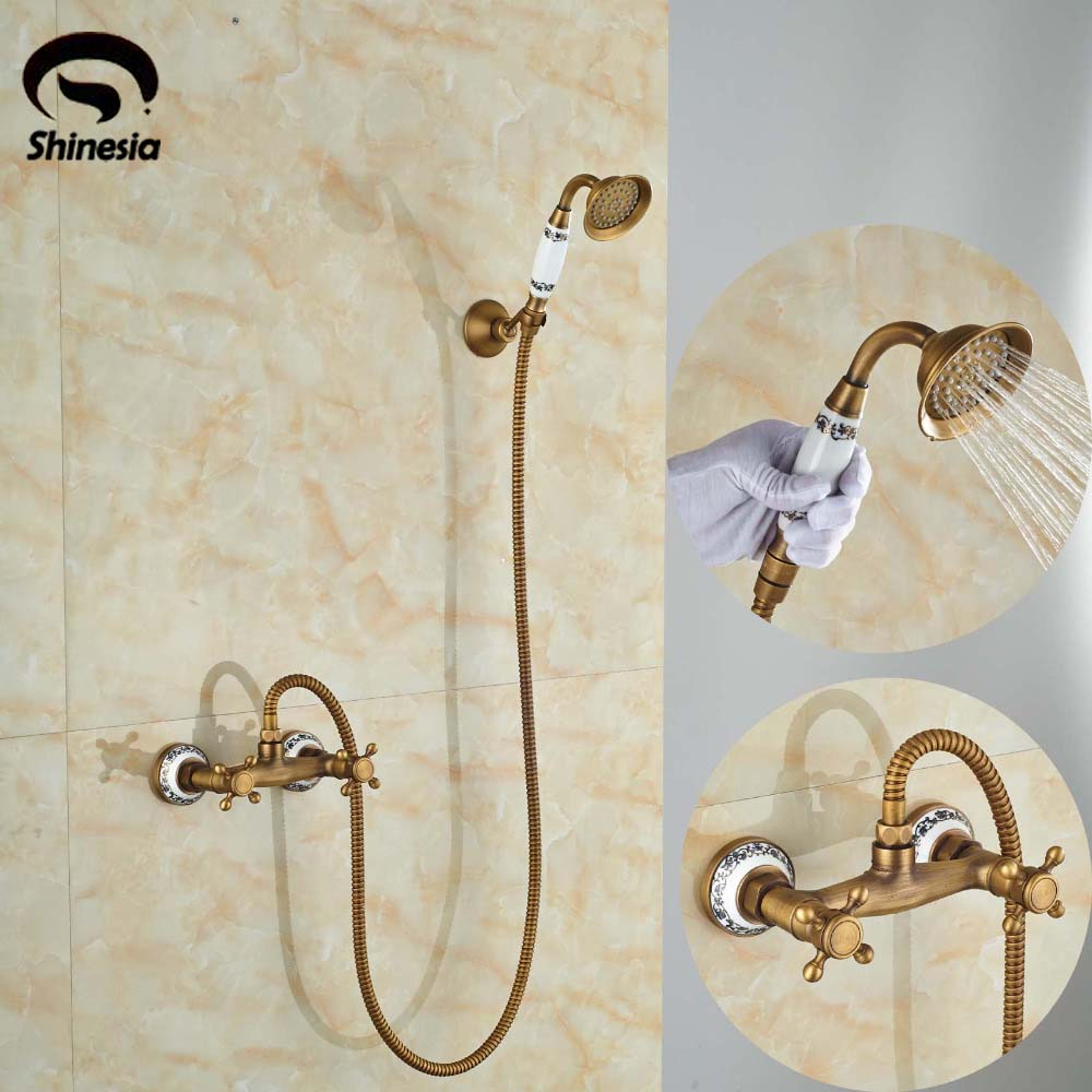 Wholesale and Retail Ceramic Style Bathroom Handheld Shower Set Faucet Wall Mounted Antique Brass Finished wildwood lamps 292499 antique finished ceramic hand made and glazed tang horse braying