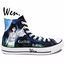 Wen Hand Painted Shoes Anime Bleach Kuchiki Rukia Kurosaki Men Women's High Top Canvas Sneakers for Gifts