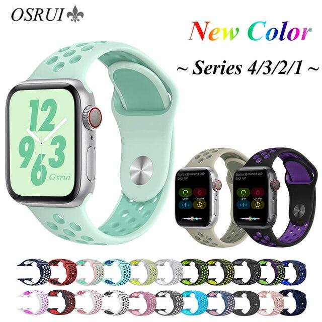 OSRUI силиконовый ремешок для Apple watch band 4 44 мм 40 мм correa aple 42 мм 38 мм iwatch 3 band Sport наручный браслет, ремешок аксессуары