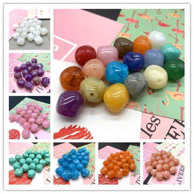 New 10 Pcs Irregular Round Acrylic Beads Spacer Loose Beads For Jewelry Making DIY Bracelet #ZJ