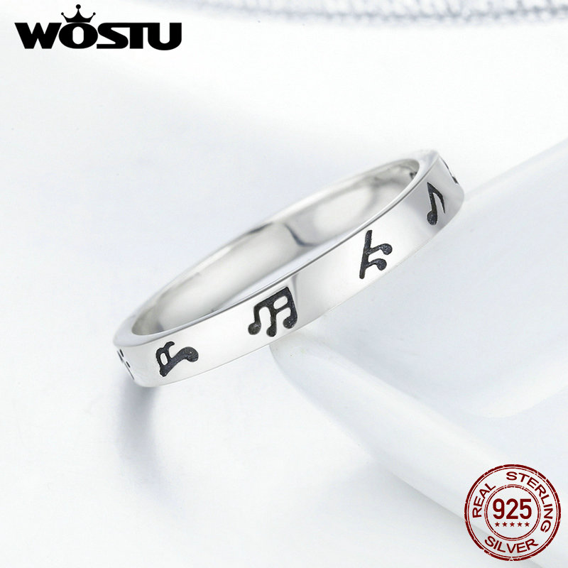 WOSTU New Arrival Genuine 925 Sterling Silver Romantic Music Notes Finger Rings for Women Sterling Silver Jewelry S925 DXR199