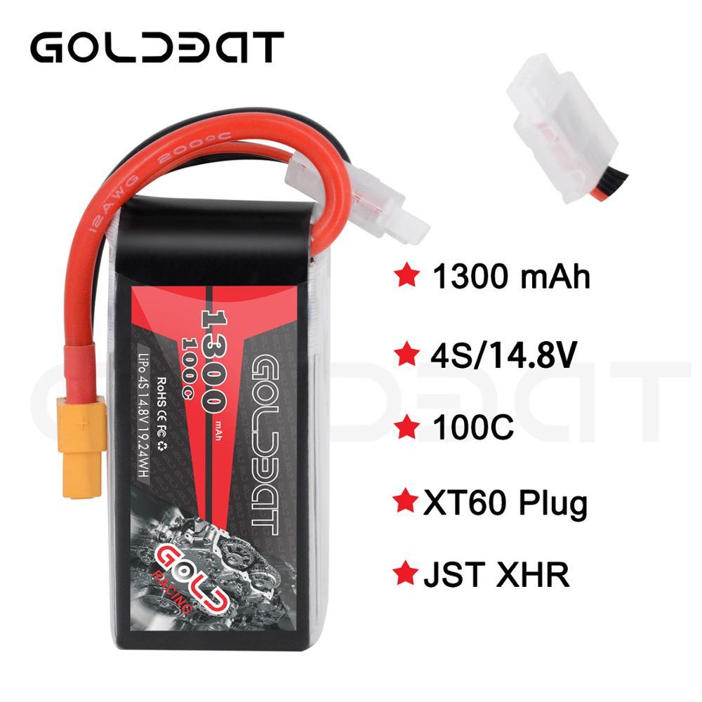 2 unidades goldbat 1300 mah lipo bateria para fpv lipo 4S 100c 14.8 v softcase com xt60 plug para heli avião uav zangão fpv corrida