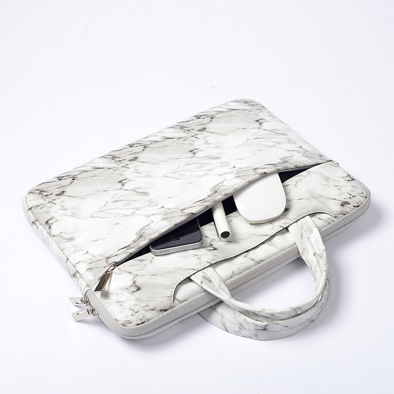 Marble PU Laptop Bag Sleeve <font><b>15.6</b></font> 15 14 13.3 11 inch for Macbook Air 13 Casual Portable <font><b>Notebook</b></font> Bag for Xiaomi Dell <font><b>Pouch</b></font> Case image