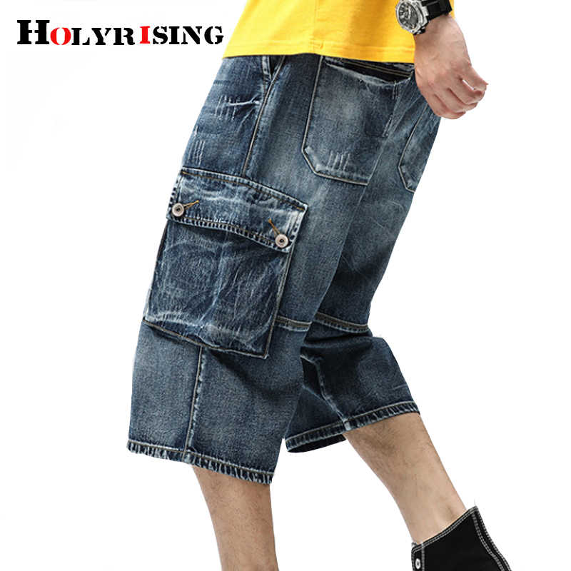 Mannen jean cargo shorts Multi-pocket Mens Big size Losse baggy Korte jeans voor mannen jongen Hip Hop skateboard broek 18842-5