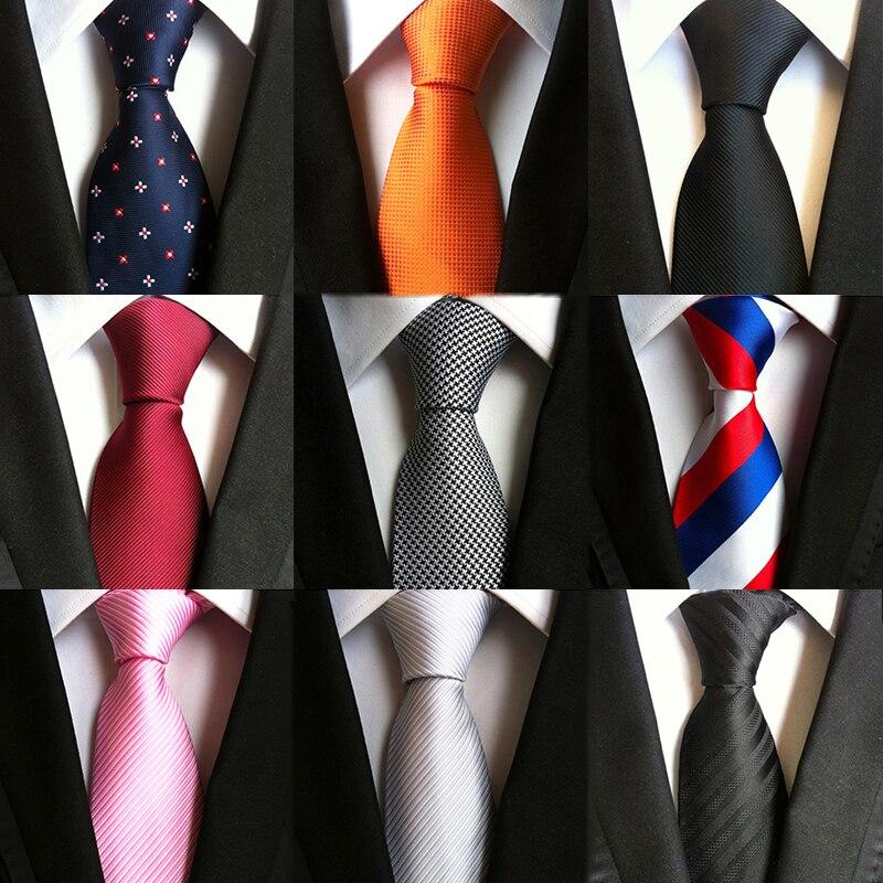 75 Style 8cm Wide Business Neckties For Men Blue Orange Red Pink Black Gray Jacquard Woven Wedding Ties Gravata Silk Tie Necktie