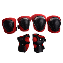 JEYL Hot Skating Gear Knee Elbow Wrist Pads Protector Red Black for Kids