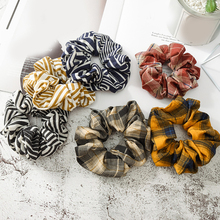 Fashion Elastic Hair Bands Plaid Striped Soft Scrunchies Ponytail Ring Girls Headwear Harajuke