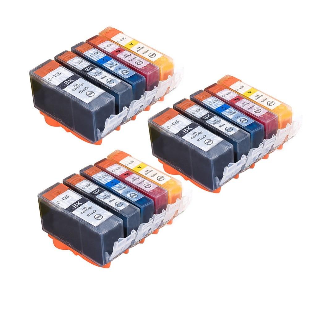 YLC 15pc PGI425 CLI426  PGI-425 CLI-426 compatible For Canon MG5140 MG5240 MG5340 IP4840 MX884 IX6540 IP4940 MX714 MX894