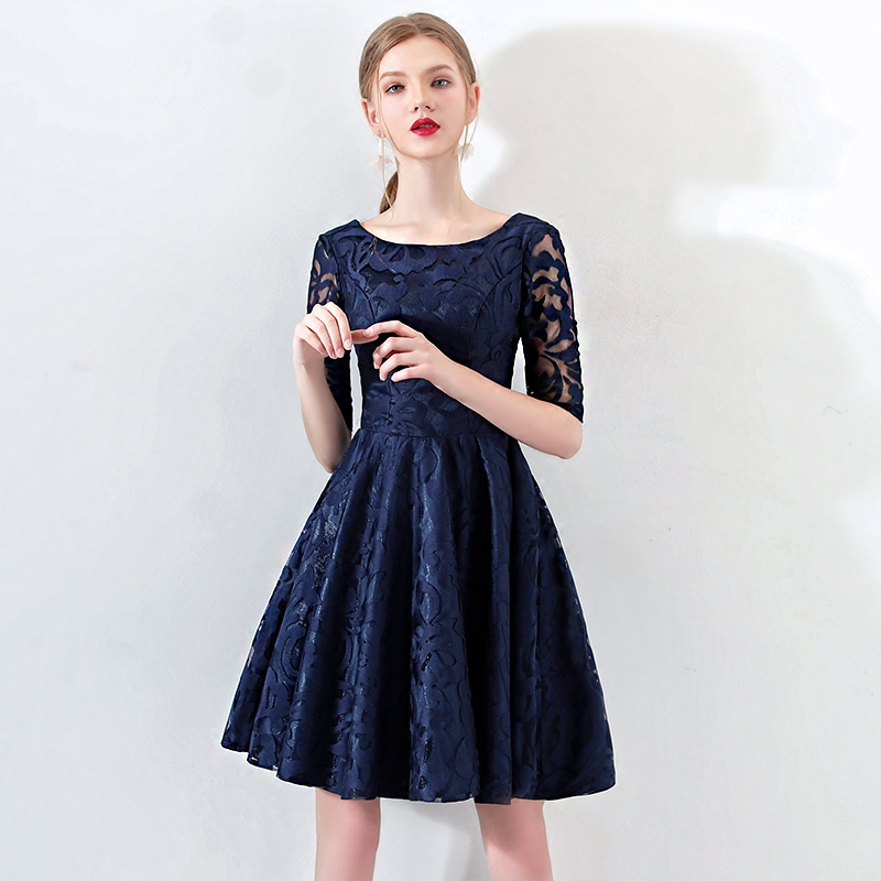 Robe De   Cocktail   Courte Elegant A Line Short Sleeve Lace   Cocktail     Dresses   2018 New Teal Formal Party Gowns LF331