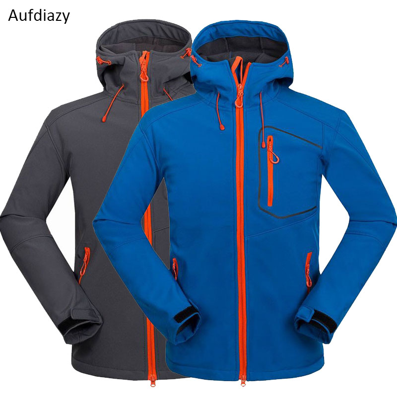Aufdiazy Winter Men's Softshell Jacket Waterproof Hiking Jackets Outdoor Male Thick Windstopper Trekking Camping Ski Coats JM037