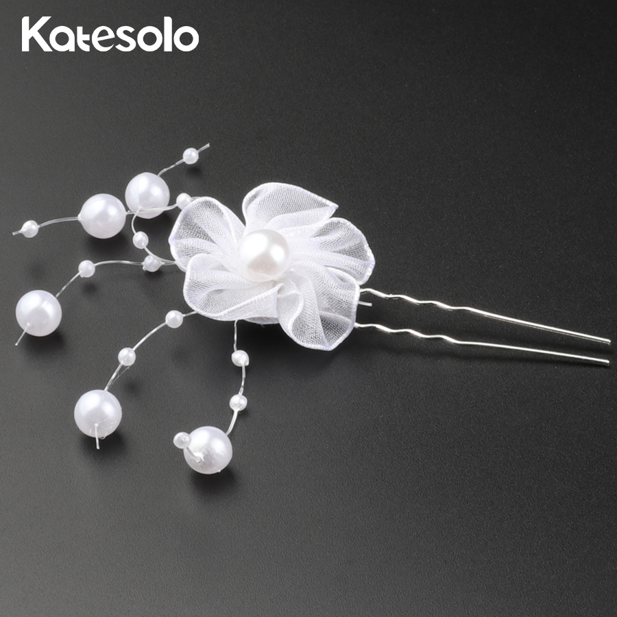 Vintage White Flower Hair Pins Clip Bridal Girls Wedding Hair