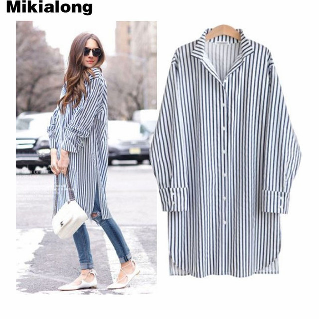 4e460617920 Mikialong Oversized Women Blouse Casual Long Sleeve Plus Size Long Striped Shirt  Women Autumn Tops Kimono Tunic Blusas Mujer