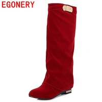 Hot Sale 2013 New Brand Fashion Women Pu Leather Wedges Heel Winter Warm Knight Knee High