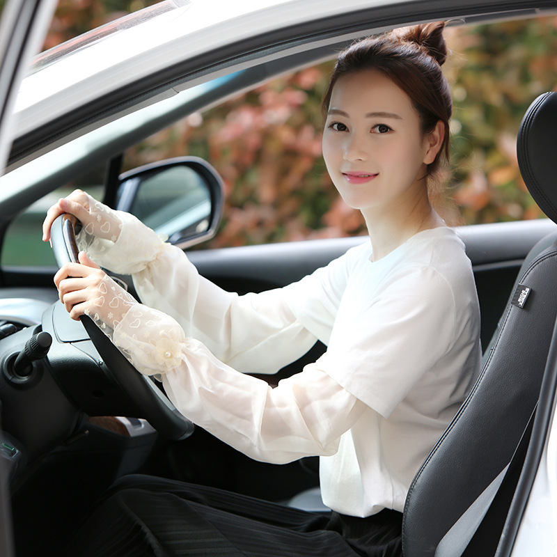 Sunscreen Long Gloves Women Sun Shade Arm Sleeves Chiffon Lace Driving Cycling Female Breathable Summer Lady Ice Cool Cuff H3129