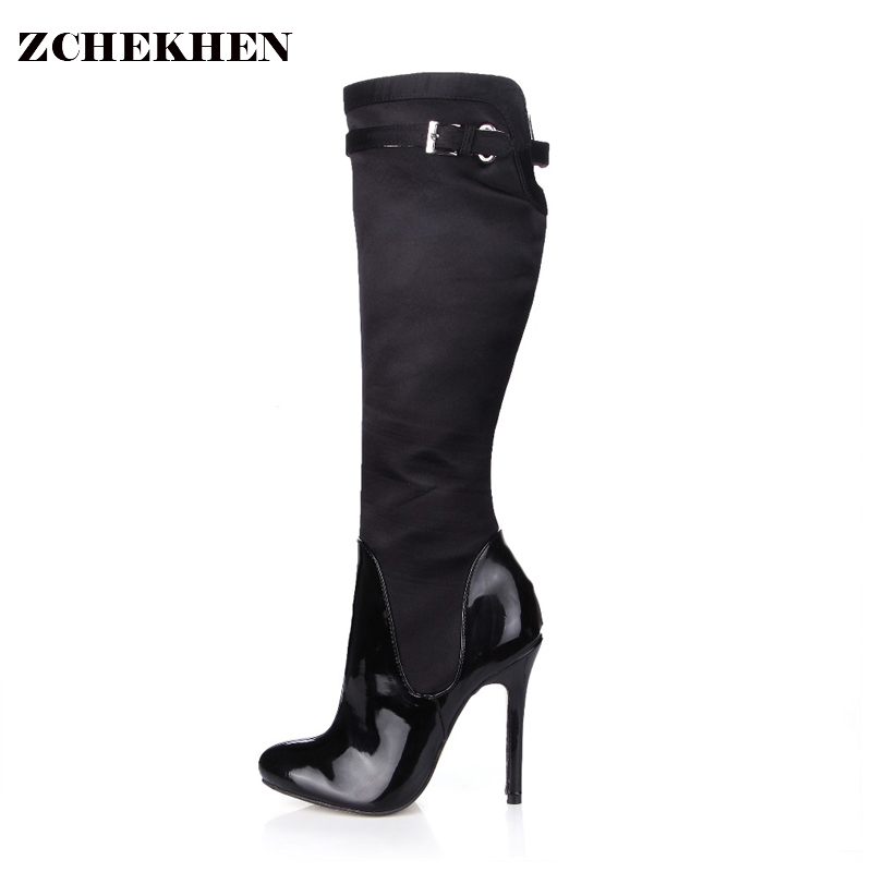 Fashion Over The Knee Thigh High Boots Women Extreme High Heel Pointed Toe Boots Sexy Black Long Boots for Dance SMQ009 jialuowei women sexy fashion shoes lace up knee high thin high heel platform thigh high boots pointed stiletto zip leather boots