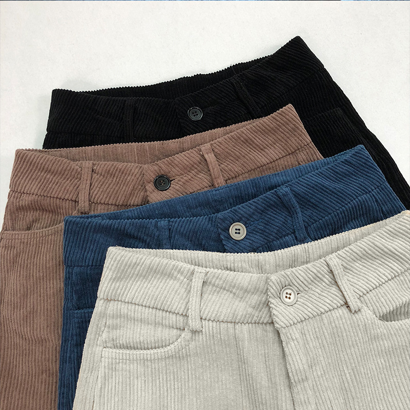 Winter Pants Women 2019 Vintage Corduroy Warm Trousers Female Casual Loose High Waist Harem Pants Pantalon Mujer