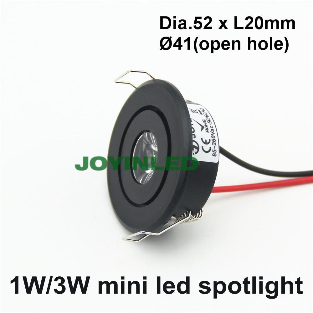 высокое качество 3 вт 1*3 вт регулируемый диаметр 50 мм открытое отверстие 42 мм удара светодиодный прожектор мини кабинет фары