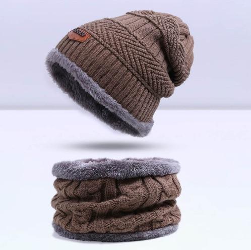 Зимняя вязаная шапка, шарф, набор, Мужская однотонная теплая шапка, шарфы, мужские зимние уличные аксессуары, шапки, шарф, 2 штуки - Цвет: Khaki1