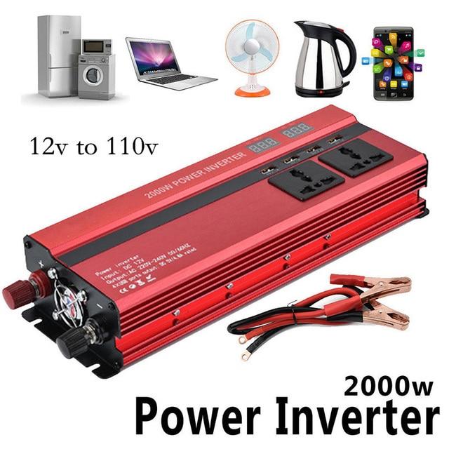 12v 110v 2000W Car Inverter LCD Voltage Display 12v to 110v 4 USB Charger Ports Auto Power Inverter Dual AC Plugs