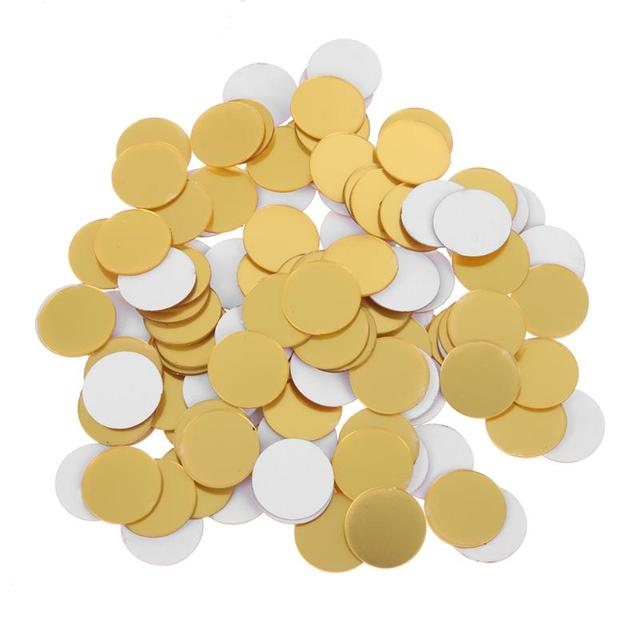 100 Pcs 3D DIY Acrylic Mirror Wall Sticker Round Shape Stickers Decal Mosaic Mirror Room Home Decor