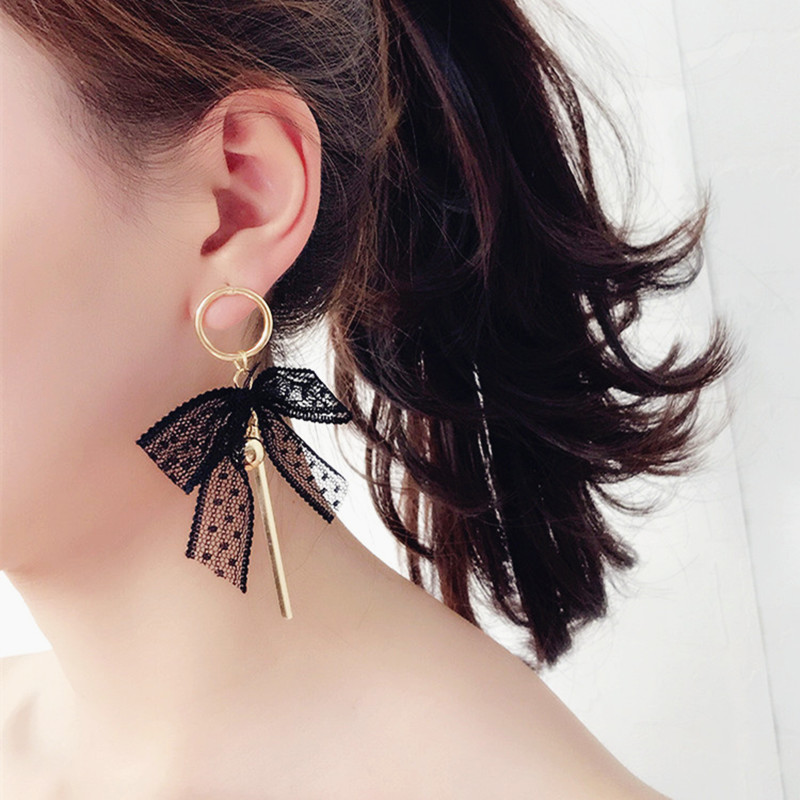 Japanese Sweet Style Bowknot Earrings Lace Embroidery Knot Earrings Vintage Ribbon Tassel Long Earrings For Women Pendientes